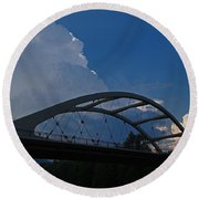 Thunder Over The Rogue River Bridge Round Beach Towel