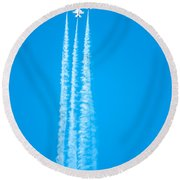 Thunderbirds In Air Formation  Round Beach Towel