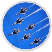 Thunderbirds Jet Team Flying Fast Round Beach Towel