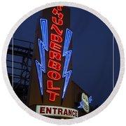 Thunderbolt Rollercoaster Neon Sign Round Beach Towel