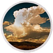 Thunderhead Over The Blacktail Plateau Round Beach Towel by Marty Koch