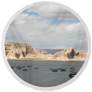 Thunderstorm Atmosphere Over Lake Powell Round Beach Towel