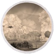 Thunderstorm Clouds And The Little House On The Prairie Sepia Round Beach Towel