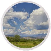 Thunderstorm Clouds Boiling Over The Colorado Rocky Mountains Round Beach Towel
