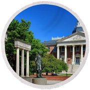 Thurgood Marshall Memorial And Maryland State House Round Beach Towel