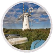 Thurne Dyke Windpump Norfolk Round Beach Towel