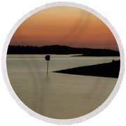 The Lake After Sunset Round Beach Towel