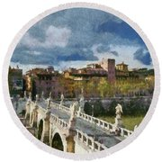 Tiber River In Rome Round Beach Towel