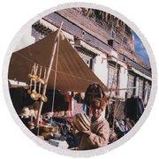 Tibet Market At Gyantse By Jrr Round Beach Towel