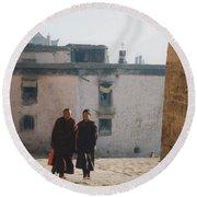 Tibet Monks 6 Round Beach Towel