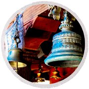 Tibetan Bells Round Beach Towel