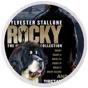 Tibetan Mastiff Art Canvas Print - Rocky Movie Poster Round Beach Towel