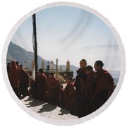 Tibetan Monks 2 Round Beach Towel