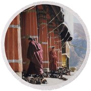 Tibetan Monks At Sera Round Beach Towel