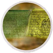 Tibetan Prayer Flags Round Beach Towel