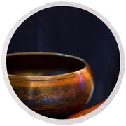 Tibetan Singing Bowl Round Beach Towel