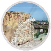 Tiburon And Basketball Court At The Top Of The Fort Wall Round Beach Towel