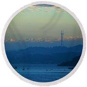 Tiburon's View Of Sutro Tower Round Beach Towel