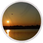 Tidal Basin Sunset Round Beach Towel