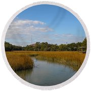 Tidal Creek Ebb And Flow Round Beach Towel