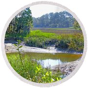 Tidal Creek In The Savannah Round Beach Towel