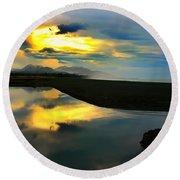 Tidal Pond Sunset New Zealand Round Beach Towel