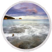 Tide Covered Pavement Round Beach Towel