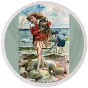 Tide Pools At The Beach Round Beach Towel