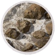 Tide Pools Of Shell Beach California Round Beach Towel