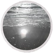 Tide Waits For No One Round Beach Towel