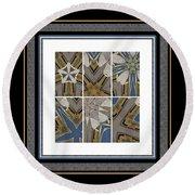 Tied To My Concrete Garden - Kaleidoscope - Hexaptych Round Beach Towel