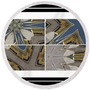 Tied To My Concrete Garden - Kaleidoscope - Segmented Art Round Beach Towel