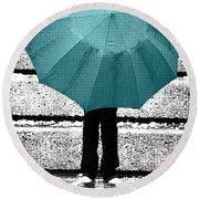 Tiffany Blue Umbrella Round Beach Towel