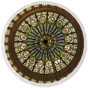 Tiffany Dome Chicago Cultural Museum Round Beach Towel