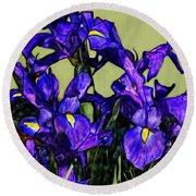 Tiffany Style Blue Iris Round Beach Towel