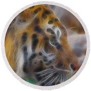 Tiger-5344-fractal Round Beach Towel