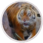 Tiger-5362-fractal Round Beach Towel