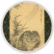 Tiger And Bamboo Round Beach Towel