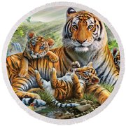 Tiger And Cubs Round Beach Towel by Adrian Chesterman