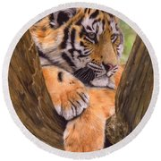 Tiger Cub Painting Round Beach Towel by David Stribbling