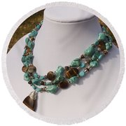 Tiger Eye And Turquoise Triple Strand Necklace 3640 Round Beach Towel