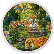 Tiger Family At The Pool Round Beach Towel