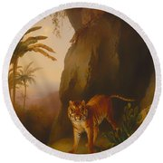 Tiger In A Cave Round Beach Towel