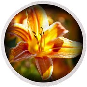 Tiger Lily Flower Round Beach Towel