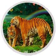Tiger Love Tropical Round Beach Towel