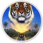 Tiger Of The Lake Round Beach Towel