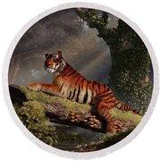 Tiger On A Log Round Beach Towel by Daniel Eskridge