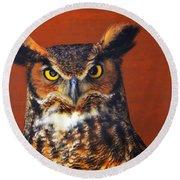 Tiger Owl Round Beach Towel