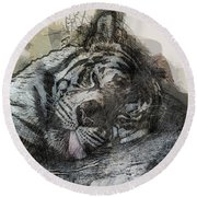 Tiger R And R Round Beach Towel