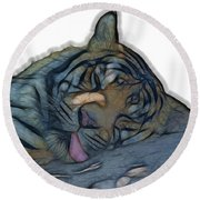 Tiger R And R V4 Round Beach Towel
